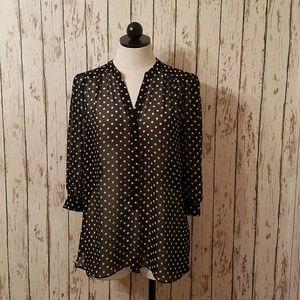 Lauren Conrad high low polka dot blouse